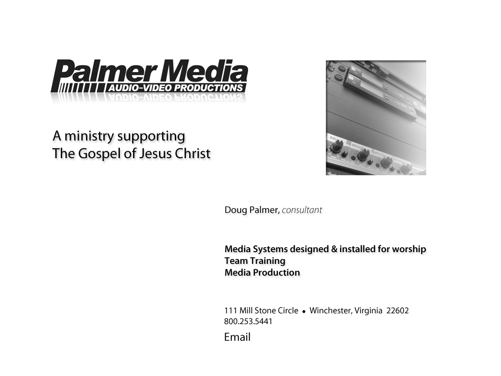Palmer Media, Audio-Video Productions - Welcome page